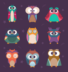 cute owls wild birds kids colored vector image