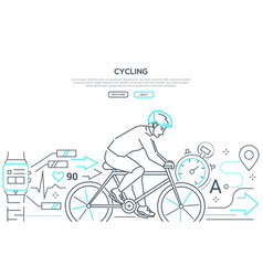 cycling - modern line design style web banner vector image