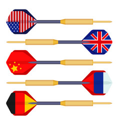 dart arrows small missiles with flags of countries vector image