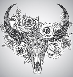 Decorative indian bull skull in tattoo tribal vector image