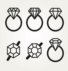 Diamond Icon Symbol Set vector image