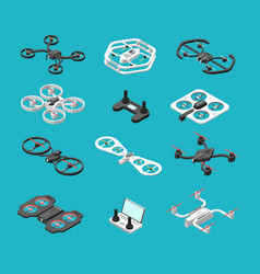 Different isometric 3d drones aerial delivery vector