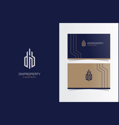 din building logotype with business card template vector image