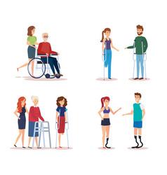 disabled people set design vector image
