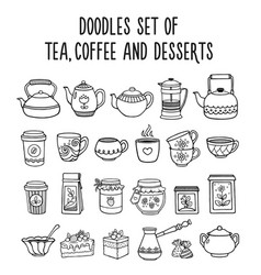 doodles set of tea coffee desserts sweets vector image