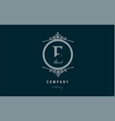 E blue decorative monogram alphabet letter logo vector
