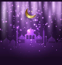 Eid al adha background with mosques and glowing vector