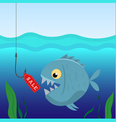 fish under water on hook with a label sales vector image