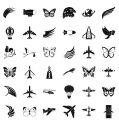 fly icons set simle style vector image