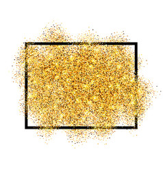 Gold glitter sand in black frame isolated white vector