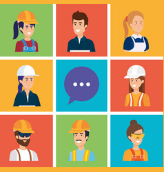 group of workers and speech bubble vector image