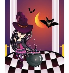Halloween Witch on Balcony vector image