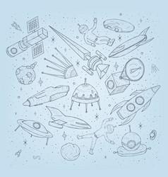 hand drawn cartoon space planetsshuttles rockets vector image