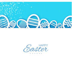 Happy easter greetings card eggs in paper cut vector