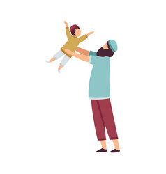 happy muslim father playing with his little son vector image