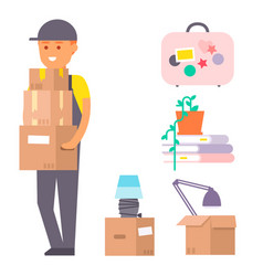 Happy young boy flat people moving in new vector