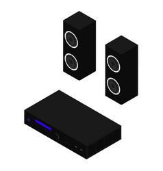 hi-fi system musical player and speakers isolated vector image