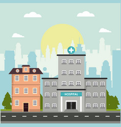 Hospital and house building story facade vector