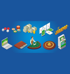 isometric casino icons set vector image