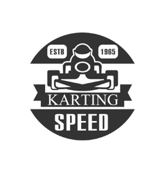 Karting Club Speed Racing Black And White Logo vector