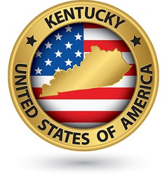 Kentucky state gold label with state map vector image