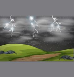 Land scape storm scene vector
