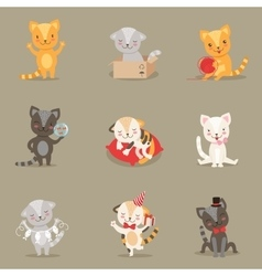 Little Girly Cute Kittens Cartoon Characters vector