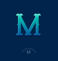 M monogram blue green gradient letters initial vector