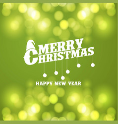 merry christmas green bokeh background vector image