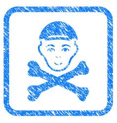 Mortal boy head framed stamp vector