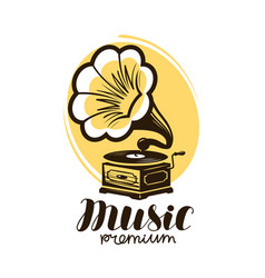 music logo or label retro gramophone phonograph vector image