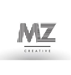 Mz m z black and white lines letter logo design vector