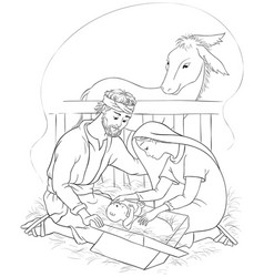 nativity scene jesus mary joseph coloring page vector image