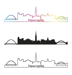 Newcastle skyline linear style with rainbow vector