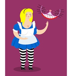Old fat Alice in Wonderland and Cheshire Cat Woman vector