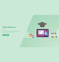 Online education campaign concept for website vector