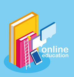 Online education with smartphone and ebooks vector