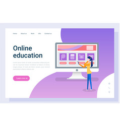 online education woman listening courses on web vector image