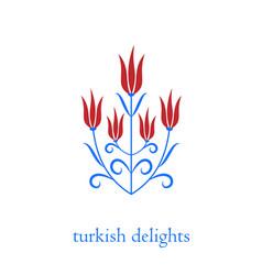 Ottoman turkish tulips vector