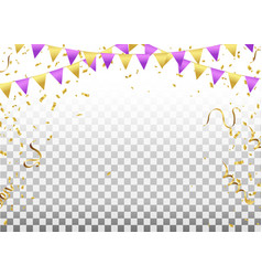 Party flags with confetti and ribbons falling on vector