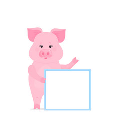 pig hold a blank sign clean poster empty poster vector image