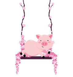 pig in a swing vector image