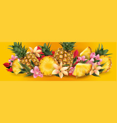 pineapple and tropical flowers vector image
