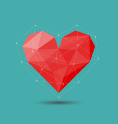Polygon red heart icon for valentines day vector