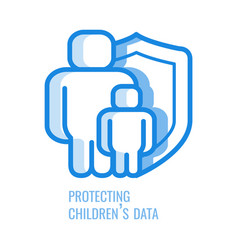 Protecting children data line icon - abstract vector