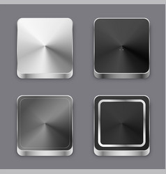 realistic 3d brushed metal buttons or icons set vector image