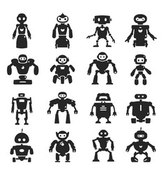 robot black icon set characters for game media vector image