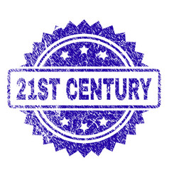 Scratched 21st century stamp seal vector