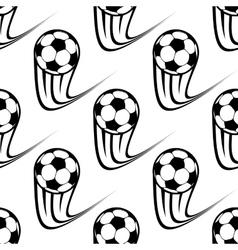 Seamless pattern speeding soccer balls vector