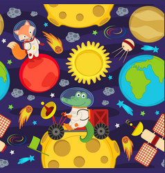 seamless pattern with moon rover and animals vector image